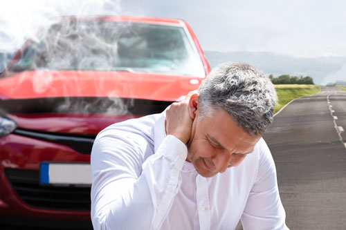 Neck pain from whiplash in an accident